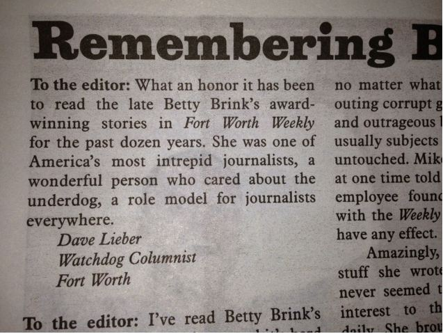 betty brink letter